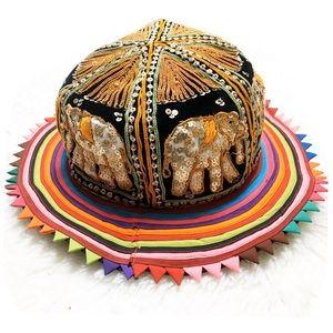 VINTAGE VTG Elephant Sequin Embellished Party Hat